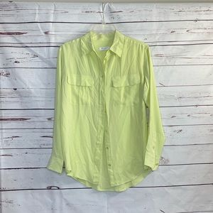 Equipment Lime Green 100% Silk Button Down Blouse